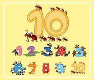 Numbers from One to Ten with Cute Animals royalty free illustration