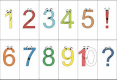 Numbers from one to ten with eyes and positive emotions. Question mark. Exclamation point. Royalty Free Stock Photos
