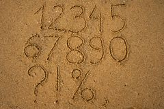 Numbers one to ten written on a sandy beach. Numbers one to ten written on a sandy yellow beach Stock Images