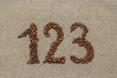 Numbers one, two, three from coffee beans Royalty Free Stock Photography