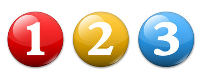 Numbers one two three. 1 2 3 icons/buttons Stock Image