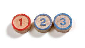 Numbers One Two Three. Numbers one two and three on small wooden cylinder-shaped pieces on a white background Stock Image