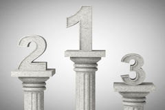 Numbers one, two and three over classic column Stock Images