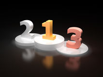 Numbers one two and three on a white victory podium Royalty Free Stock Photo