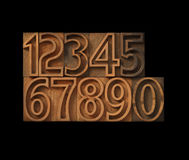Numbers in outline type. Outline wood letterpress type numbers royalty free stock images