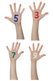 Numbers painted on children hands.  Rises up hands. Stock Photos