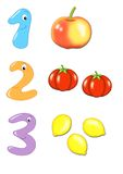 Numbers, part 1. Colored illustration of amusing numbers Stock Photo