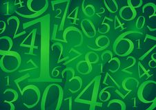 Numbers pattern_01. Abstract numeric pattern with green tones Stock Image