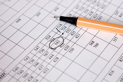 Numbers and pen. Very important numbers selected by pen Stock Photo