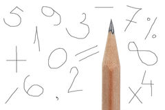 Numbers with pencil Royalty Free Stock Photography