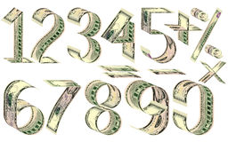 Numbers, percent and mathematical signs from dollars Royalty Free Stock Photos
