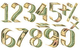 Numbers, percent and mathematical signs from dollars Royalty Free Stock Image