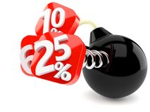 Numbers with percent symbols and bomb. Isolated on white background Royalty Free Stock Image