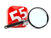 Numbers with percent symbols and magnifying glass Royalty Free Stock Image