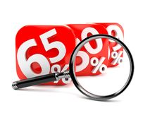 Numbers with percent symbols and magnifying glass Stock Photos