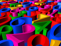 Numbers in perspective. 3D Illustration - Background of colorful numbers in perspective closeup Royalty Free Stock Images