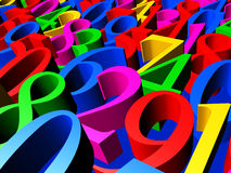 Numbers in perspective. 3D Illustration - Background of colorful numbers in perspective closeup Stock Image
