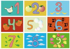 Numbers with pictures. Illustration of numbers with pictures for children education Royalty Free Stock Photo