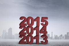 Numbers of 2013, 2014, and 2015 Stock Images