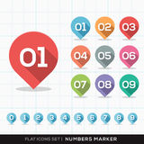 Numbers Pin Marker Flat Icons with long shadow Set vector illustration