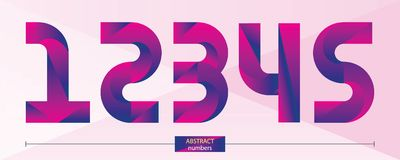 Numbers purple color geometric style in a set 12345. Vector graphic numbers in a set 1,2,3,4,5, with purple color geometric style Royalty Free Stock Images