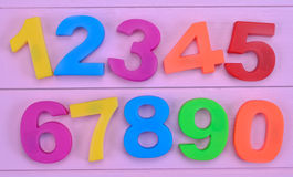 Numbers on purple table Royalty Free Stock Photography
