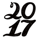 2017 numbers for quote lettering. Happy New Year. Decorative Trended Alphabet. Display font and numbers. Hand drawn letters in old fashion vintage style Stock Image