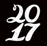 2017 numbers for quote lettering. Happy New Year. Decorative Trended Alphabet. Display font and numbers. Hand drawn letters in old fashion vintage style Royalty Free Stock Photos