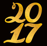 2017 numbers for quote lettering. Happy New Year. Decorative Trended Alphabet. Display font and numbers. Hand drawn letters in old fashion vintage style Royalty Free Stock Image