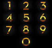 Numbers in Realistic Golden Chrome Style  Royalty Free Stock Photography