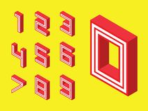 Numbers red block style on yellow background. 3d isometric numbers. 123 red block style on yellow background. Letters. vector typography for headlines, posters Stock Photography