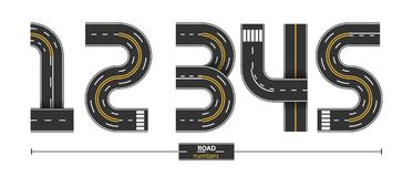 Numbers Road in a set 12345. Numbers in a set 1,2,3,4,5, road with white and yellow line markings on white background Stock Image