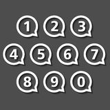 Numbers in Round Speech Bubbles. Flat design royalty free illustration