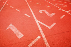 Numbers on running track Stock Images