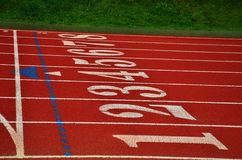 Numbers on a Running Track. Numbers 1-8 on a red track Royalty Free Stock Photo