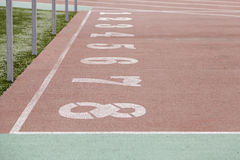 Numbers of a running track Stock Image