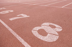 Numbers on a running track Stock Photo