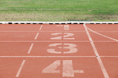 Numbers on running track. Royalty Free Stock Photos