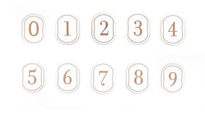 Numbers. Rustic style room numbers Royalty Free Stock Image