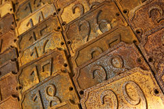 Numbers. On rusty metal plates Royalty Free Stock Photography