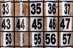 Numbers. Rusty plate of numbers for some game. royalty free stock photography