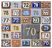 Numbers 70s. Collage of House numbers 70s Royalty Free Stock Photos