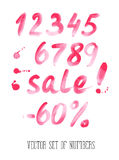 Numbers and sale set. Hand drawn letters Stock Photo