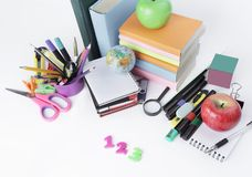 Numbers and school supplies on white background Royalty Free Stock Images