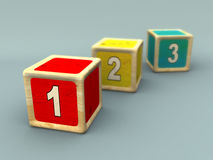 Numbers sequence. Numbers on wooden cubes. CG illustration Stock Photography