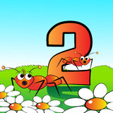 Numbers serie for kids - #02. Animals and numbers series for kids, from 0 to 9 - 2 ants Stock Photo