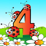 Numbers serie for kids - #04. Animals and numbers series for kids, from 0 to 9 - 4 Ladybirds Royalty Free Stock Images