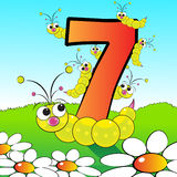 Numbers serie for kids - #07. Animals and numbers series for kids, from 0 to 9 - 7 grubs Stock Photography
