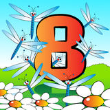 Numbers serie for kids - #08. Animals and numbers series for kids, from 0 to 9 - 8 dragonflies Stock Images