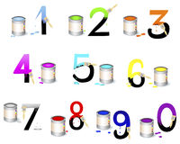 Numbers Set. Not fully painted numbers with paint dripping, brushes and paint cans. Vector illustration Stock Photography